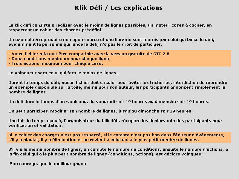 Règle du Klik Défi